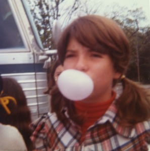 This is me as a young girl, blowing bubble gum.